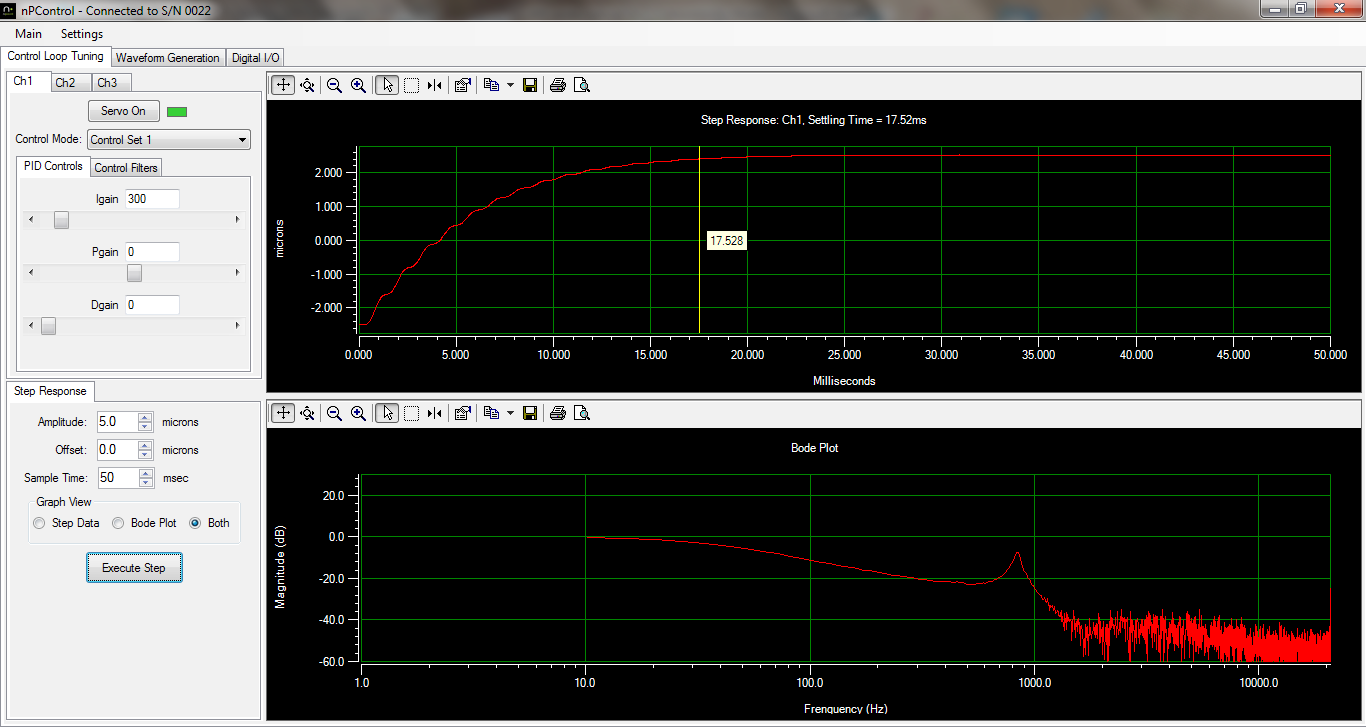 The step response and bode plot of the nanopositioning software for sale