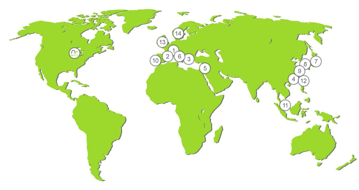 Map of nPoint's Global Distributors
